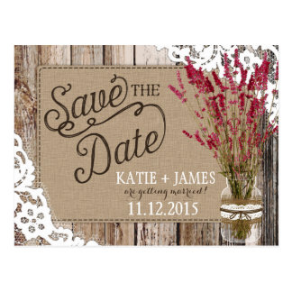 Lavender and Lace Rustic Wood Planks Save the Date Postcard