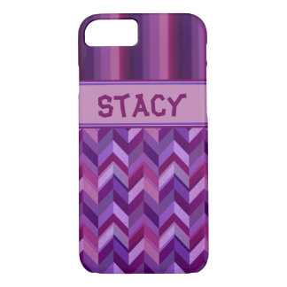 Lavender and Maroon Chevrons Customisable iPhone 7 Case