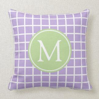 Lavender and Mint Green Lattice Monogram Throw Pillow