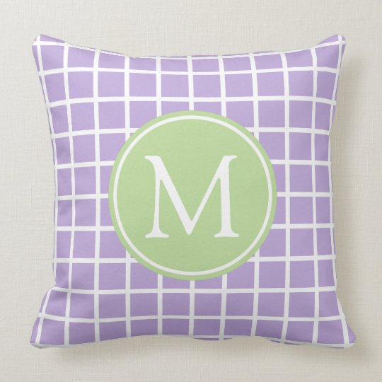 Lavender and Mint Green Lattice Monogram Throw Pillow