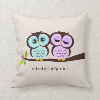 Lavender and Mint Owls Wedding Throw Pillows