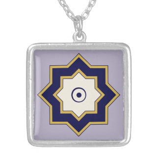 Lavender-and-Navy Blue Eight-Pointed Star Necklace
