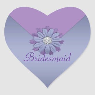 Lavender And Periwinkle Flower Wedding Heart Sticker