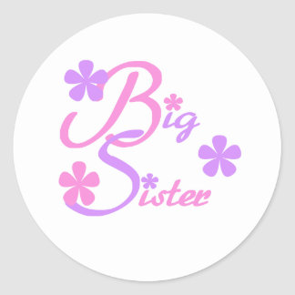 Lavender and Pink Big Sister Classic Round Sticker