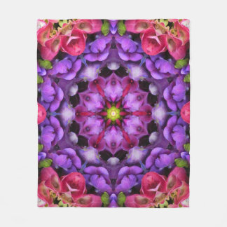 Lavender and Pink Flower Mandala Fleece Blanket