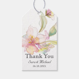 Lavender and Pink Pastel Watercolor Floral Pack Of Gift Tags