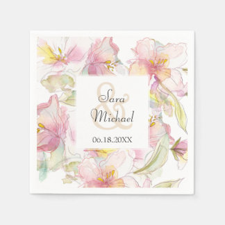 Lavender and Pink Pastel Watercolor Floral Wedding Disposable Napkins