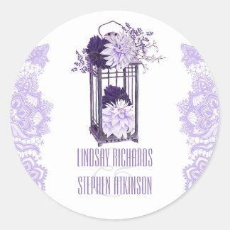 Lavender and Purple Floral Lantern Wedding Classic Round Sticker