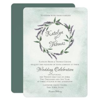 Lavender and Sage Wedding Wreath Card