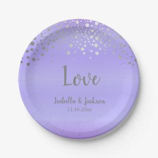 Lavender and Silver Confetti Dots Paper Plate