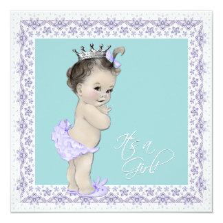 "Lavender and Teal Blue Vintage Baby Girl Shower 5.25"" Square Invitation Card"