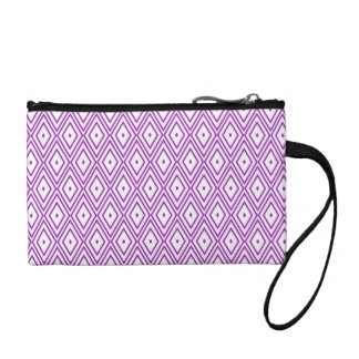 Lavender and White Diamond Pattern Coin Wallets