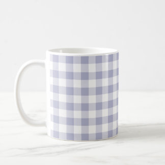 Lavender and White Gingham Checked Pattern Coffee Mug