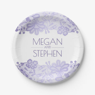 Lavender and White Lace Floral Elegant Wedding Paper Plate