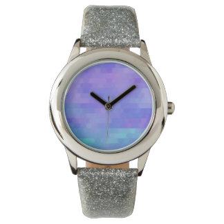Lavender aqua & purple abstract triangle mosaic watch