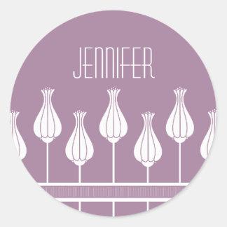 Lavender Art Deco Floral Stickers