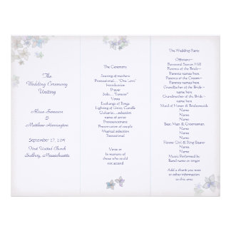 Lavender Art Tri-Fold Wedding Program Template Personalized Letterhead