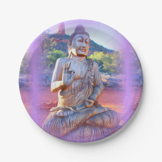 lavender aura buddha 7 inch paper plate