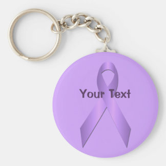 Lavender Awareness Ribbon Template Keychain