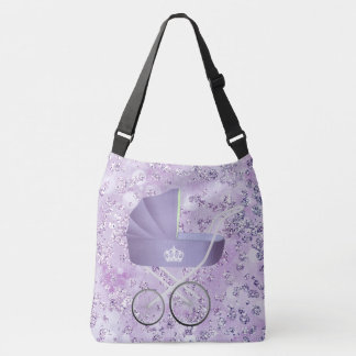 Lavender Baby Carriage Bokeh Bling Crossbody Bag