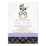 """LAVENDER BLACK DAMASK BABY CARRIAGE BABY SHOWER 5"""" X 7"""" INVITATION CARD"""