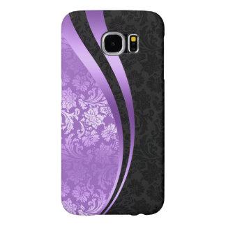 Lavender & black damasks dynamic stripes samsung galaxy s6 cases