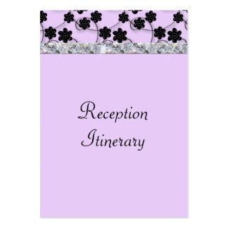 Lavender & Black Flowers Diamond Shimmer Wedding Large Business Card