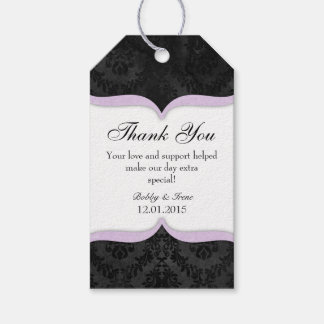 Lavender Black Vintage Damask Thank You Tags