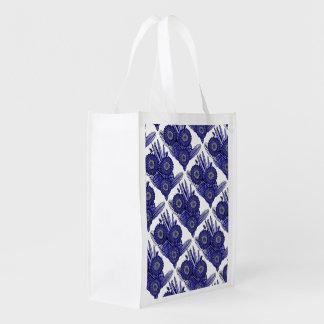 Lavender Blue Gerbera Daisy Flower Bouquet Reusable Grocery Bag