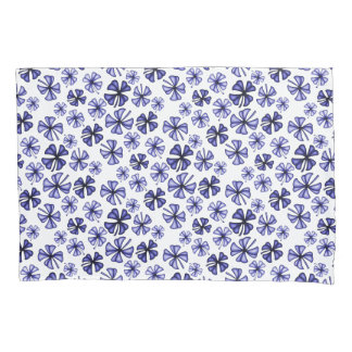 Lavender-Blue Lucky Shamrock Clover Pillowcase