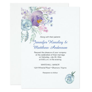 Lavender Blue Pink Watercolor Flowers Invitations