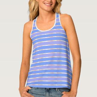 Lavender Blue Rose Stripe Tank Top