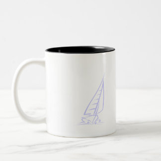 Lavender Blue Sail Boat Two-Tone Coffee Mug