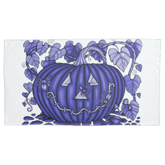 Lavender-Blue Spidery Pumpkin Pillowcase