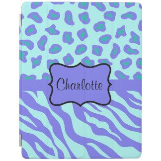 Lavender Blue Zebra Leopard Skin Name Personalized iPad Cover
