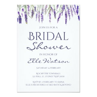 Lavender Bridal Shower Invitation, Wedding Card