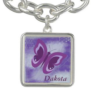 Lavender Butterfly Grunge Personalized Charm Bracelets
