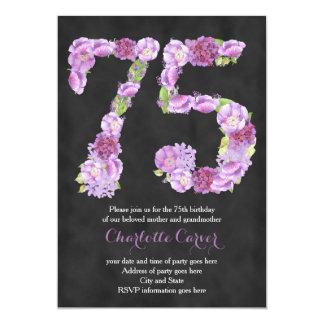 Lavender chalkboard 75th birthday party invitation