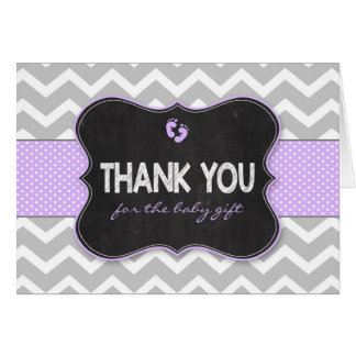 Lavender Chalkboard baby shower thank you notes