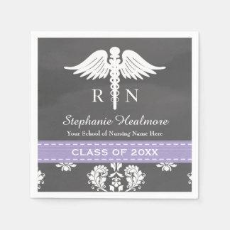 Lavender Chalkboard Caduceus Nurse Graduation Paper Napkins