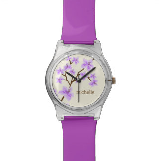 Lavender Cherry Blossoms Personalized Watch