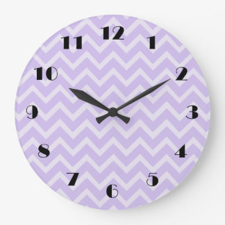 Lavender Chevron Pattern Wall Clock