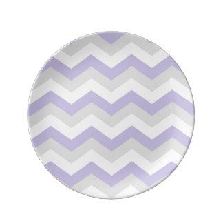 Lavender Chevron Plate Porcelain Plates
