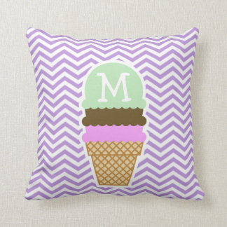 Lavender Chevron Stripes; Ice Cream Cone Throw Pillow