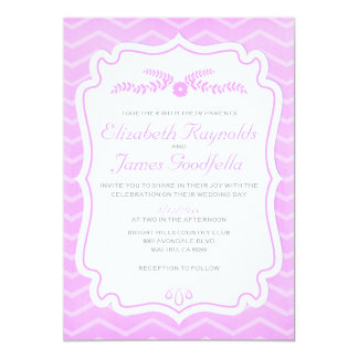 Lavender Chevron Stripes Wedding Invitations