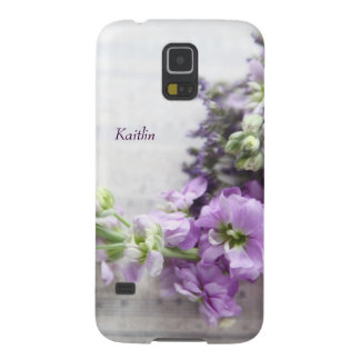 Lavender-colored flowers on old music galaxy s5 case