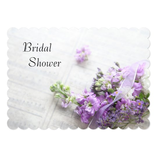 Lavender-coloured flowers on music bridal shower card