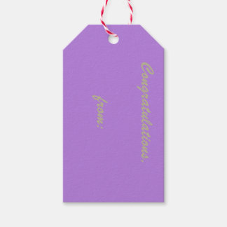 Lavender Congratulations (gold script) Pack Of Gift Tags