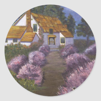 Lavender Cottage Classic Round Sticker