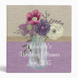 Lavender Country Burlap Floral Wedding Binder